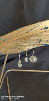 Trio de citrine et quartz rutilé or boucles d'oreilles gold filled