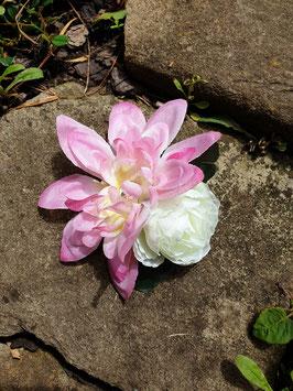 """"""" Blüten Spange pink weiß mit Strass"""