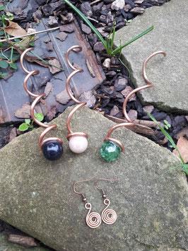 Reserviert für Mina! Spiralstäbe Kupfer und Ohrhänger