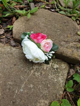 Rosenklip weiß/rosa/pink mit Blättern