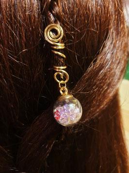Haarperle mit strassgefüllter Glaskugel