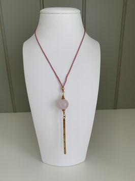 Seidenkette mit Rosenquarz und Anhänger LOVE Silber rosé vergoldet - UNIK