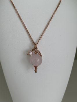 Silberkette rosé vergoldet mit Herz aus 925iger Silber rosé vergoldet  & Rosenquarz  & Swarovskistein - UNIK