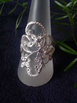 Damenring mit Blumenmuster aus 925 Sterling Silber, R 015