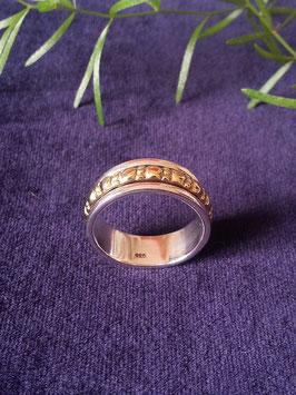 Ring mit drehbaren vergoldeten Außenring, 925 Sterling Silber, R 017