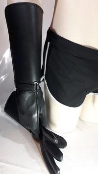 Leder Stulpenhandschuhe schwarz