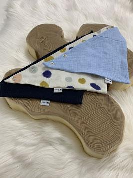Halstücher 0-3 Jahre colordots, eisblau, night