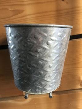 Blumentopf Silber mit Muster