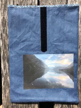 Morgenstimmung Klöntalersee | beschichteter Leinenstoff Blau