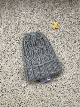 Mütze LEINA mit Umschlag hellgrau
