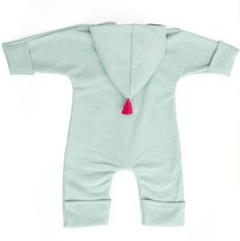 Overall Baumwollfleece mint Bommel pink