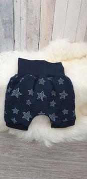 Kurze Hose Mousselin Sterne dunkelblau