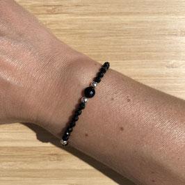 Bracelet argenté Spinelle 4mm, REF: BA14-05
