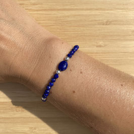 Bracelet argenté Lapis Lazuli 4mm, REF: BA09-02