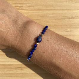 Bracelet doré Lapis Lazuli 4mm, REF: BD13-01