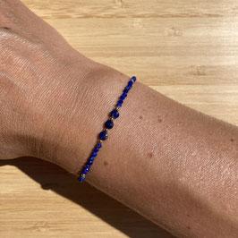 Bracelet doré Lapis Lazuli 2mm, REF: BD10-01