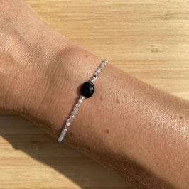 Bracelet argenté Labradorite 2mm, REF: BA10-01