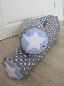 9a/ XXL Bettrolle hellgrau große Sterne /hellblau uni/weißer Stern