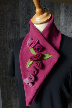 Col Echarpe Fuchsia- Fleurs Roses