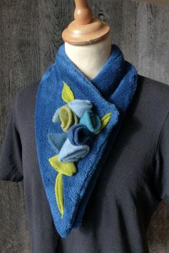 Col Echarpe  Bleu Marine - Boutons de roses bleus