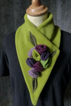 Col Echarpe  Vert - Fleurs Violettes