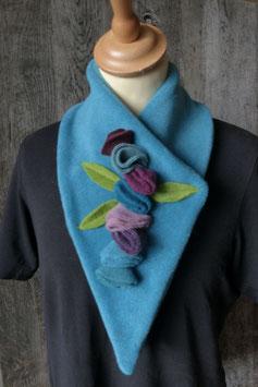 Col Echarpe Turquoise - Boutons de roses bleus et violets