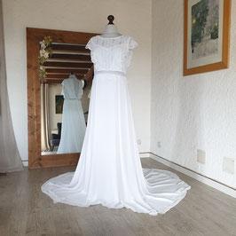 Robe de mariée, dentelle vintage, recyclée, guipure, mousseline, blanc cassé, traîne, bohème, L, 42/44, BELLA