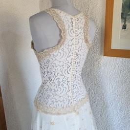 Robe de mariée en dentelles recyclées et anciennes, boutons nacrés, ivoire et champagne, mousseline, doublure antistatique, M, FR 38, CHIARA