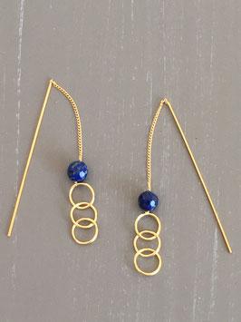 Boucles d'oreilles chaines pendantes doré perle Lapis Lazulli