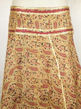 Jupe longue Beige et kashmirs 'rubans', verso beige sobre, non réversible