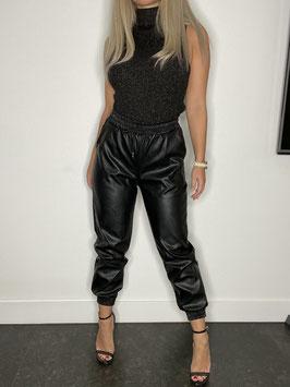 Leder Look Jeans Black
