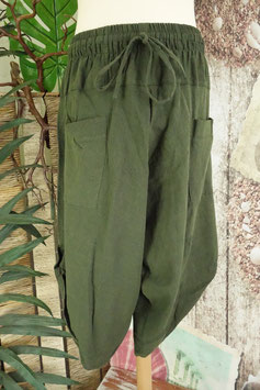 Stone Washed Large Pockets Harem Pants Green SLU-03