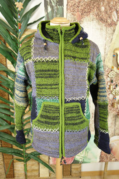 Wolljacke mit Innenfleece PURPLE-GREEN