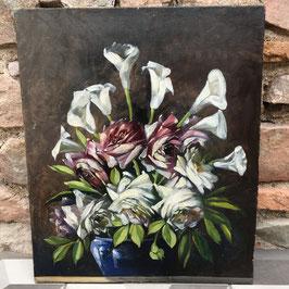 """Huile sur toile """"Roses et Arums"""" - 46x55cm (1ere moitié XXeme)"""