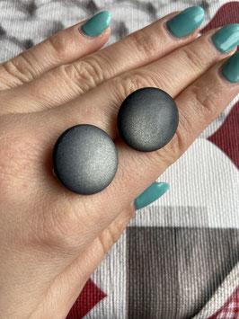 Ohrstecker oder Ohrclips matt in 20mm ( dark grey )