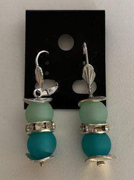 Ohrringe aus matten Polarisperlen 8 mm in mint und türkis und Straßzwischenteil