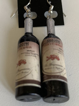 Ohrringe mit Anhänger Rotweinflasche Merlot