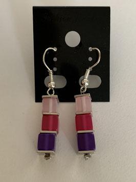 Ohrringe Polariswürfel 4 mm in rosa pink und lila