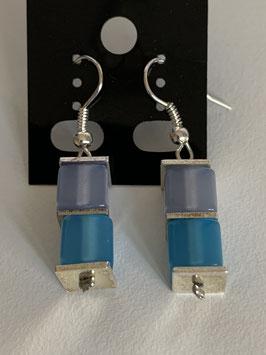 Ohrringe Polariswürfel glänzend 6 mm in hellblau und türkis