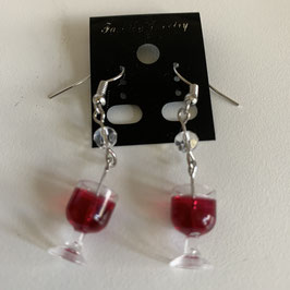 Ohrringe mit Anhänger Weinglas