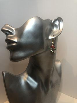 Goldfarbige Ohrringe mit buntem Anhänger Weihnachtskranz