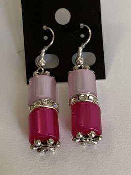 Ohrringe aus glänzenden Polarisröhren 8mm in flieder und pink mit Straßzwischenteil