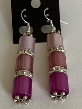 Ohrringe aus glänzenden Polarisröhren 8 mm in rosa altrosa pink mit Straßzwischenteilen
