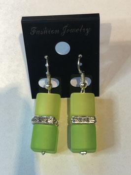 Ohrringe Polariswürfel 10 mm in gelb und grün mit Straßzwischenteil