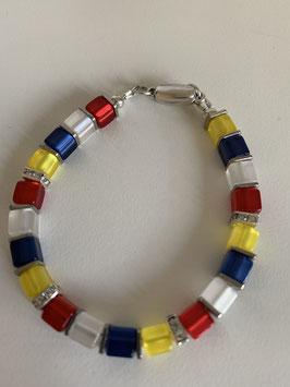 Armband mit Polariswürfel und Straßzwischenteile