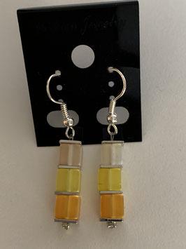 Ohrringe Polariswürfel 4 mm in weiß gelb und orange