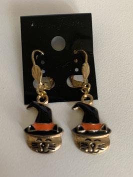 Ohrringe für Halloween mit Anhänger Katze mit Hexenhut
