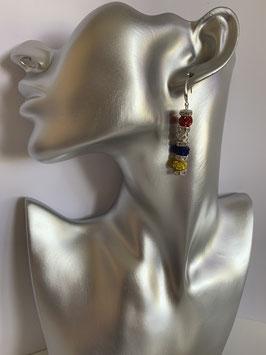 Ohrringe mit Straßtonperlen 6 mm in Fastenachtsfarben und Straßrondelle mit Ohrhakenverschluß