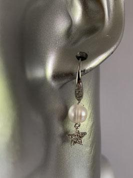 Ohrringe mit Straßohrhaken, einer weißen Süßwasserperle und einem kleinen Straßstern
