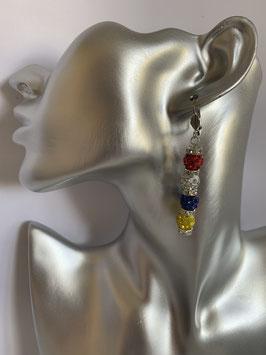 Ohrringe mit 8 mm Straßtonperlen in Fastenachtsfarben und Straßrondelle mit einem Klappbrisurenverschluß